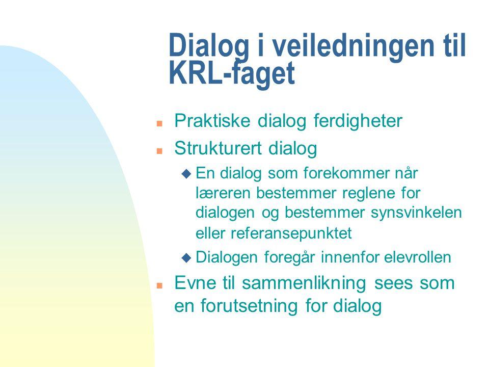 Dialog i veiledningen til KRL-faget n Praktiske dialog ferdigheter n Strukturert dialog u En dialog som forekommer når læreren bestemmer reglene for d