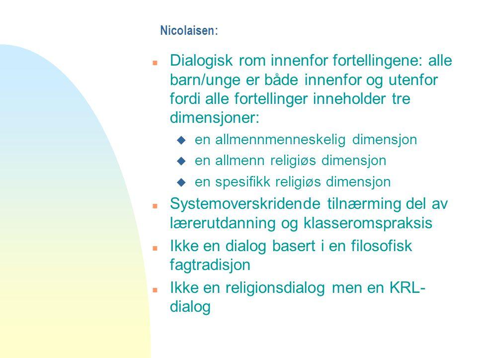 Nicolaisen: n Dialogisk rom innenfor fortellingene: alle barn/unge er både innenfor og utenfor fordi alle fortellinger inneholder tre dimensjoner: u e