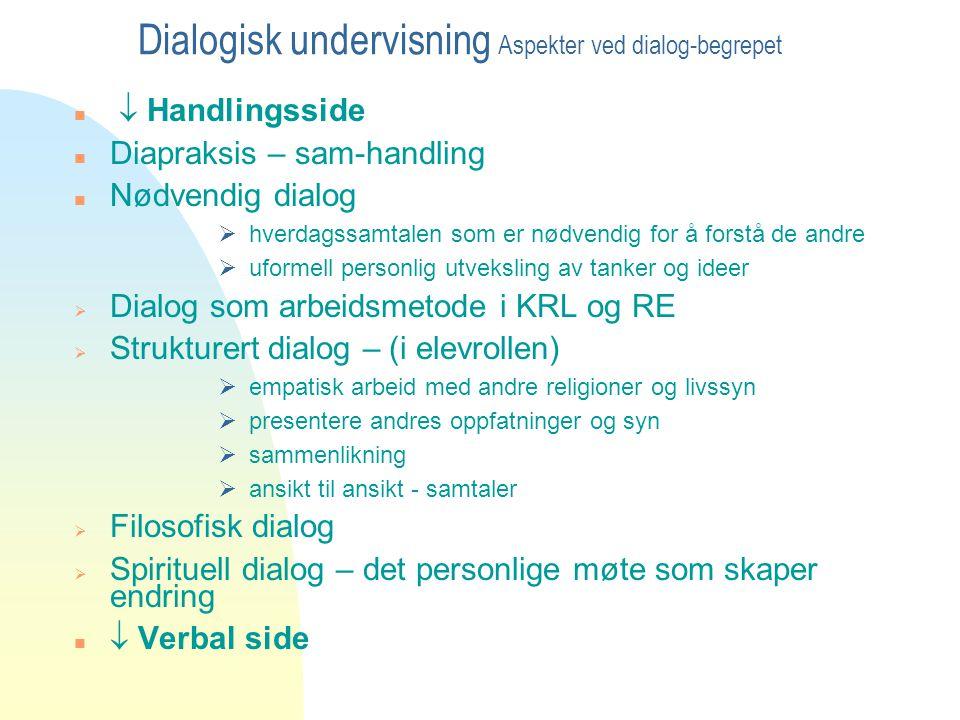 Dialogisk undervisning Aspekter ved dialog-begrepet n  Handlingsside n Diapraksis – sam-handling n Nødvendig dialog  hverdagssamtalen som er nødvend