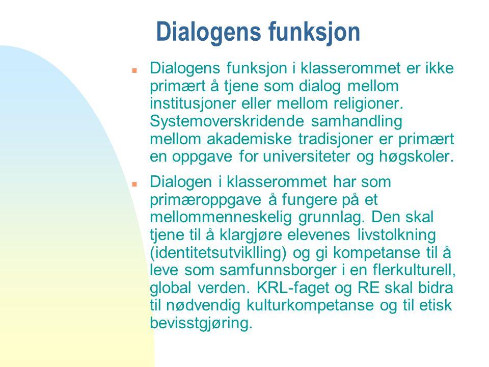 Dialogens funksjon n Dialogens funksjon i klasserommet er ikke primært å tjene som dialog mellom institusjoner eller mellom religioner. Systemoverskri
