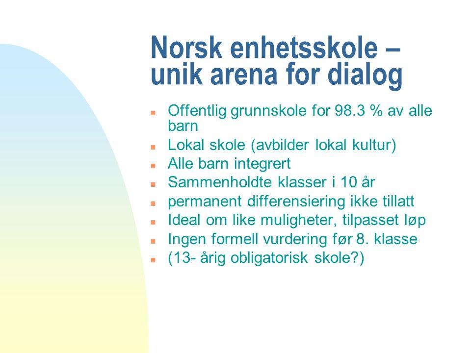Norsk enhetsskole – unik arena for dialog n Offentlig grunnskole for 98.3 % av alle barn n Lokal skole (avbilder lokal kultur) n Alle barn integrert n