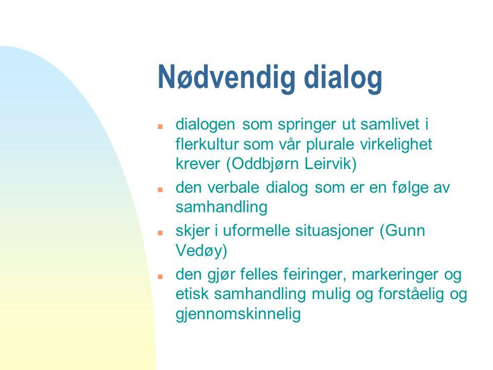 Nødvendig dialog n dialogen som springer ut samlivet i flerkultur som vår plurale virkelighet krever (Oddbjørn Leirvik) n den verbale dialog som er en
