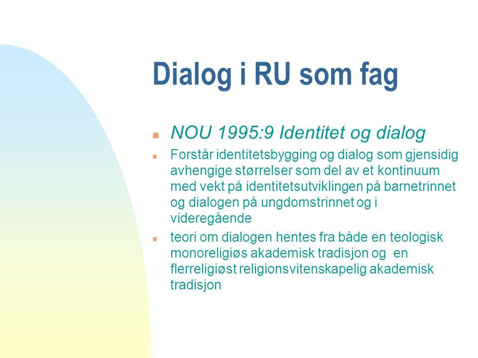 Dialog i RU som fag n NOU 1995:9 Identitet og dialog n Forstår identitetsbygging og dialog som gjensidig avhengige størrelser som del av et kontinuum