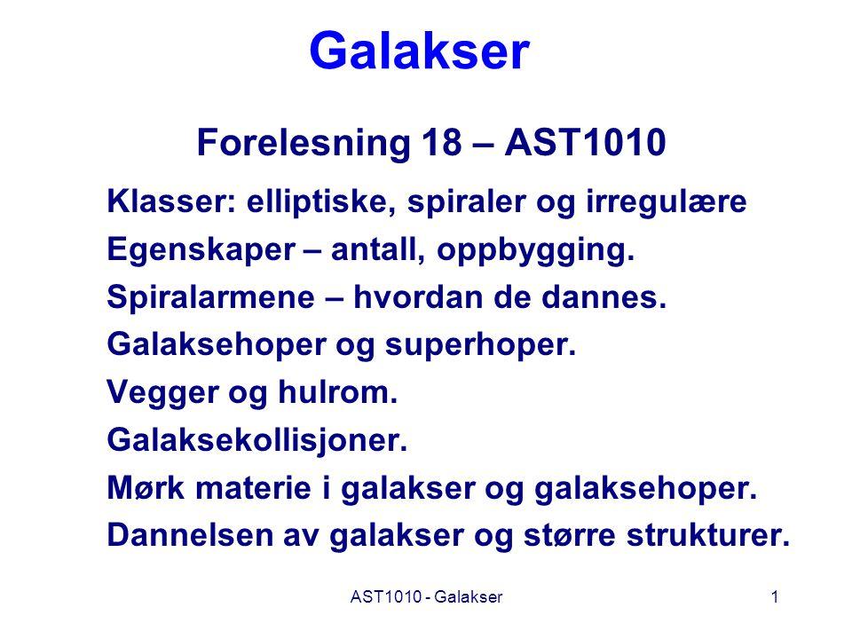 AST1010 - Galakser1 Galakser Forelesning 18 – AST1010 Klasser: elliptiske, spiraler og irregulære Egenskaper – antall, oppbygging. Spiralarmene – hvor