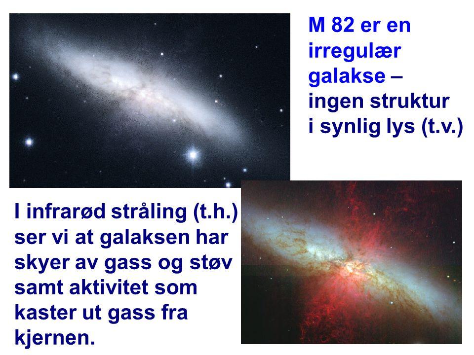 11 M 82 er en irregulær galakse – ingen struktur i synlig lys (t.v.) I infrarød stråling (t.h.) ser vi at galaksen har skyer av gass og støv samt akti