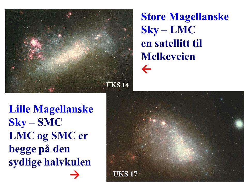 12 Store Magellanske Sky – LMC en satellitt til Melkeveien Lille Magellanske Sky – SMC LMC og SMC er begge på den sydlige halvkulen 