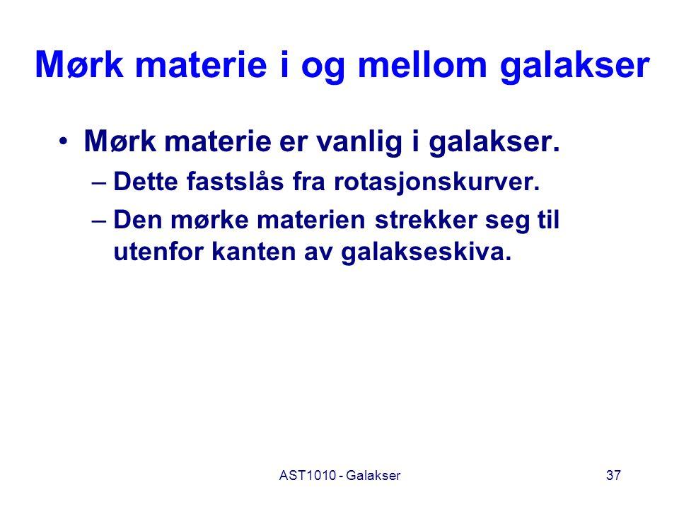 AST1010 - Galakser37 Mørk materie i og mellom galakser Mørk materie er vanlig i galakser. –Dette fastslås fra rotasjonskurver. –Den mørke materien str