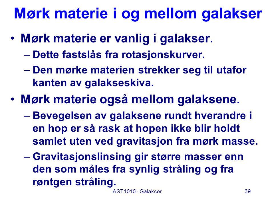 AST1010 - Galakser39 Mørk materie i og mellom galakser Mørk materie er vanlig i galakser. –Dette fastslås fra rotasjonskurver. –Den mørke materien str