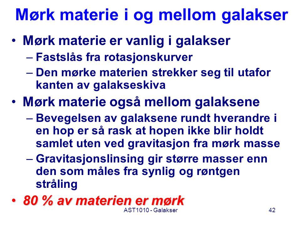 AST1010 - Galakser42 Mørk materie i og mellom galakser Mørk materie er vanlig i galakser –Fastslås fra rotasjonskurver –Den mørke materien strekker se