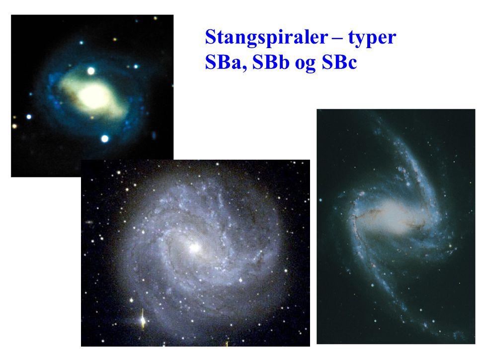 AST1010 - Galakser18 Spiralarmenes natur Armene består av de sterkest lysende stjernene, altså O og B stjerner, og av H II områder, gass oppvarmet av slike stjerner Stjerner utenom typer O og B fordeler seg jevnt i hele galakseskiva Konsentrasjonen av stjerner i armene er bare 5% høyere enn mellom armene Hva lager armene: –Tetthetsbølger –Selvpropagerende stjernedannelse –Begge deler