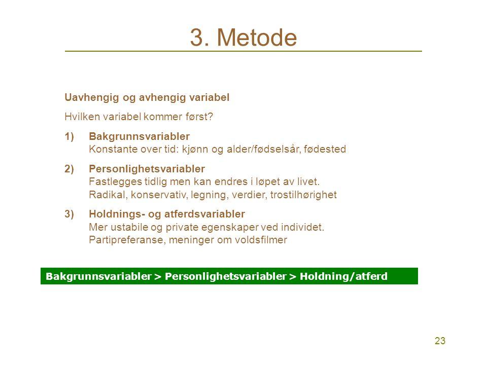 23 3.Metode Uavhengig og avhengig variabel Hvilken variabel kommer først.