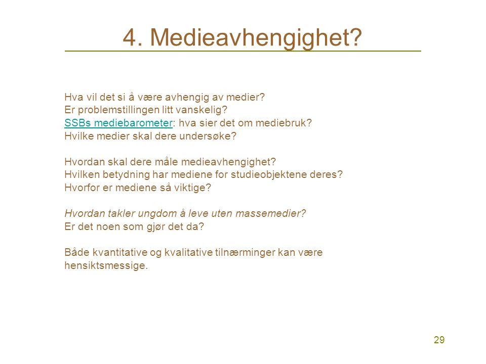 28 4. Prosjektene Gruppe 1: Er ungdom avhengig av massemedier? Hvordan takler ungdom å leve uten? Gruppe 2. Hva er forskjellen på kommunikasjonsmetode