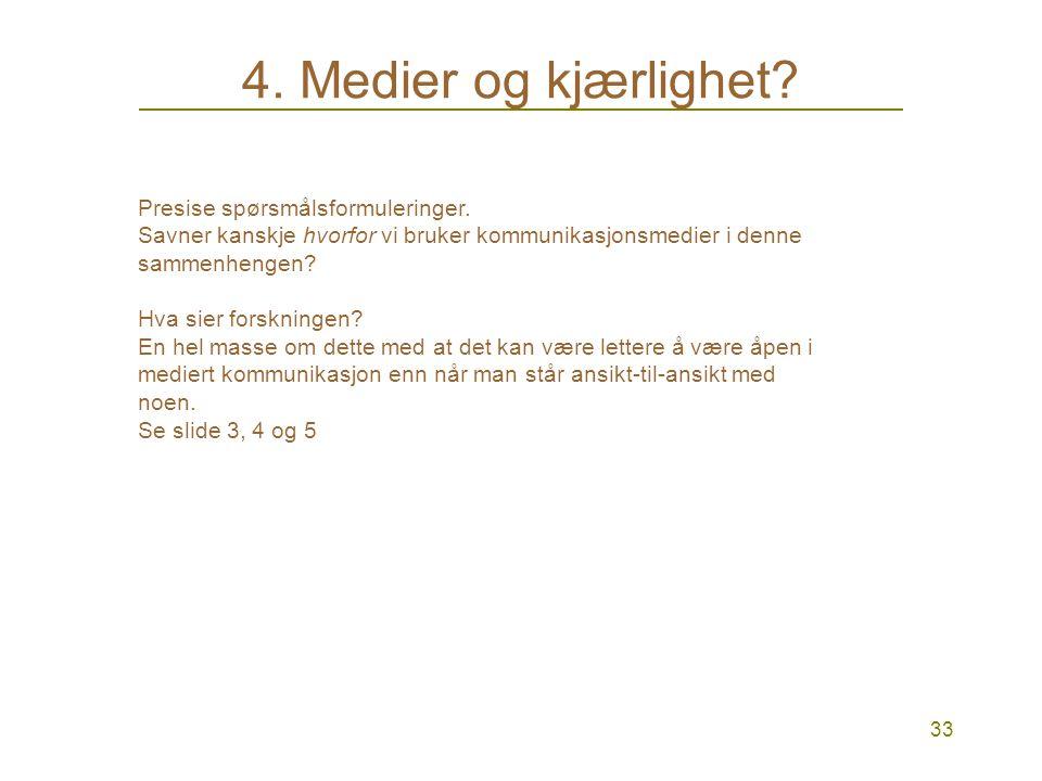 33 4.Medier og kjærlighet. Presise spørsmålsformuleringer.
