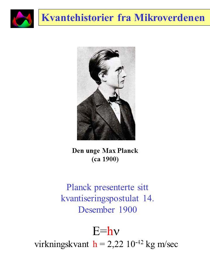 Den unge Max Planck (ca 1900) Kvantehistorier fra Mikroverdenen Planck presenterte sitt kvantiseringspostulat 14.