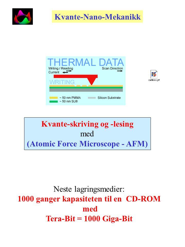 Eksperimentelle kvantepunkter (Quantum Dots) Størrelse: 20 nm = 20 10 -9 m =0,00000002 m Kvante- Mekanikk Nano-fysikk og Nano-Mekanikk