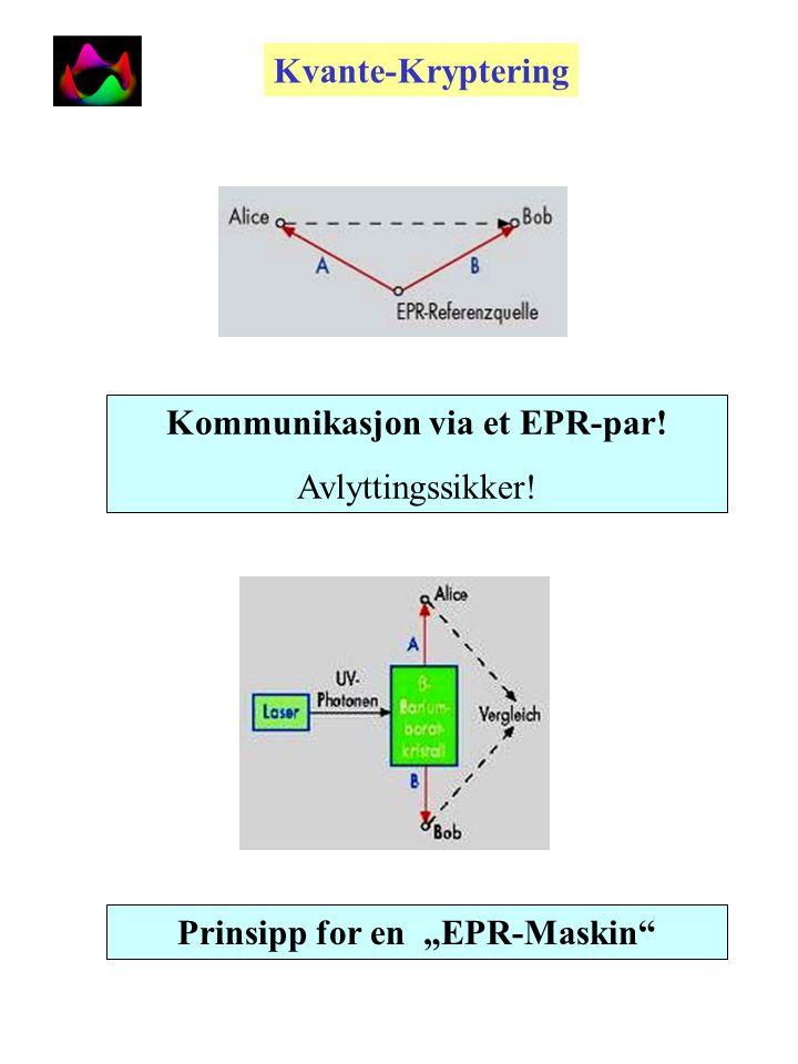 Kvante-entanglement: Entangled kvante-(EPR)-tilstander: Elektronene taper sin identitet Korrelasjoner over store avstander Einstein-Podolski-Rosen Paradoks