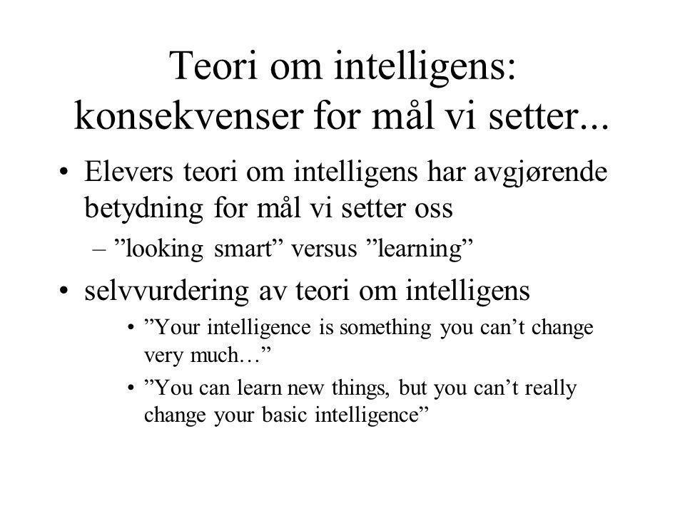 Teori om intelligens: konsekvenser for mål vi setter...