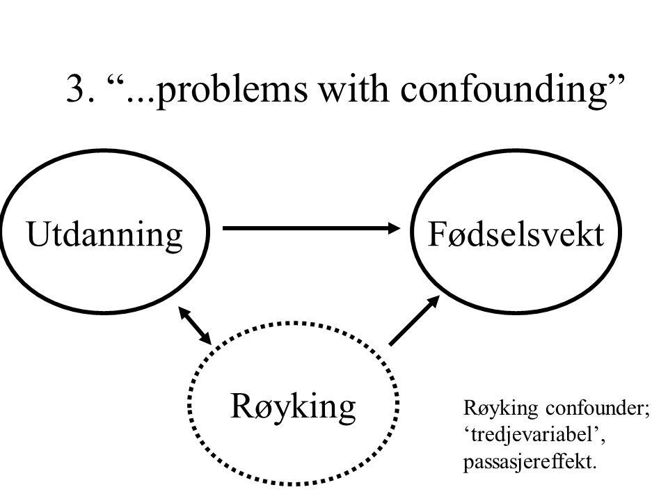 """3. """"...problems with confounding"""" Fødselsvekt Røyking Utdanning Røyking confounder; 'tredjevariabel', passasjereffekt."""