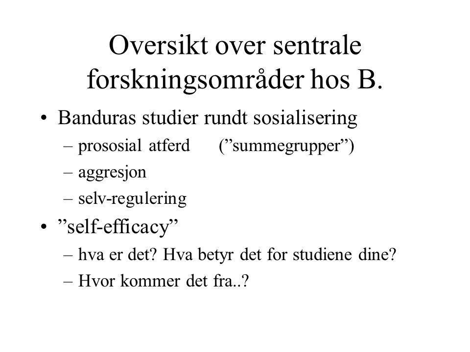 """Oversikt over sentrale forskningsområder hos B. Banduras studier rundt sosialisering –prososial atferd (""""summegrupper"""") –aggresjon –selv-regulering """"s"""