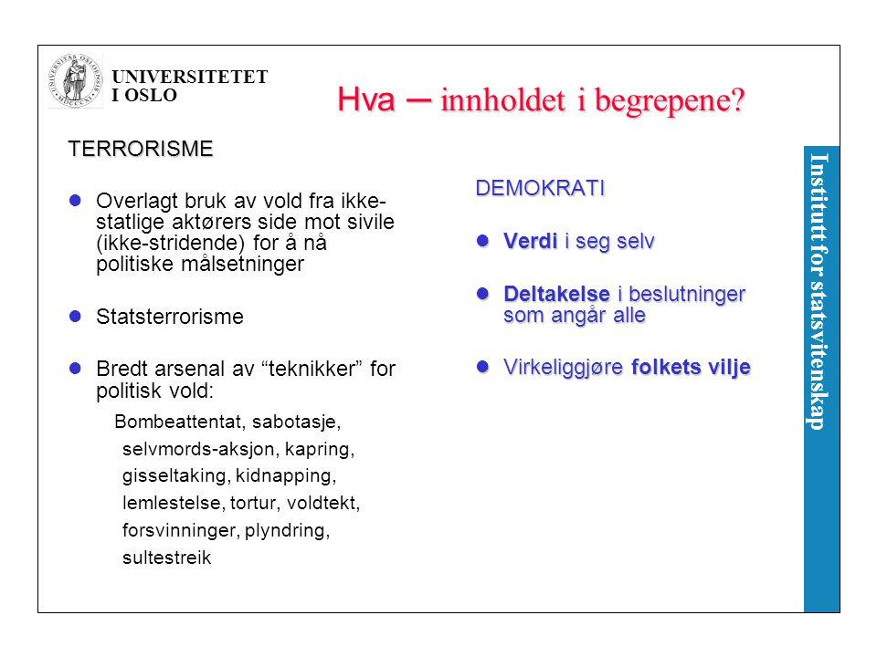 UNIVERSITETET I OSLO Institutt for statsvitenskap Hva ─ innholdet i begrepene? TERRORISME Overlagt bruk av vold fra ikke- statlige aktørers side mot s