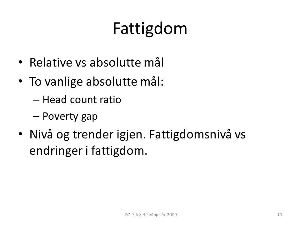 Fattigdom Relative vs absolutte mål To vanlige absolutte mål: – Head count ratio – Poverty gap Nivå og trender igjen. Fattigdomsnivå vs endringer i fa