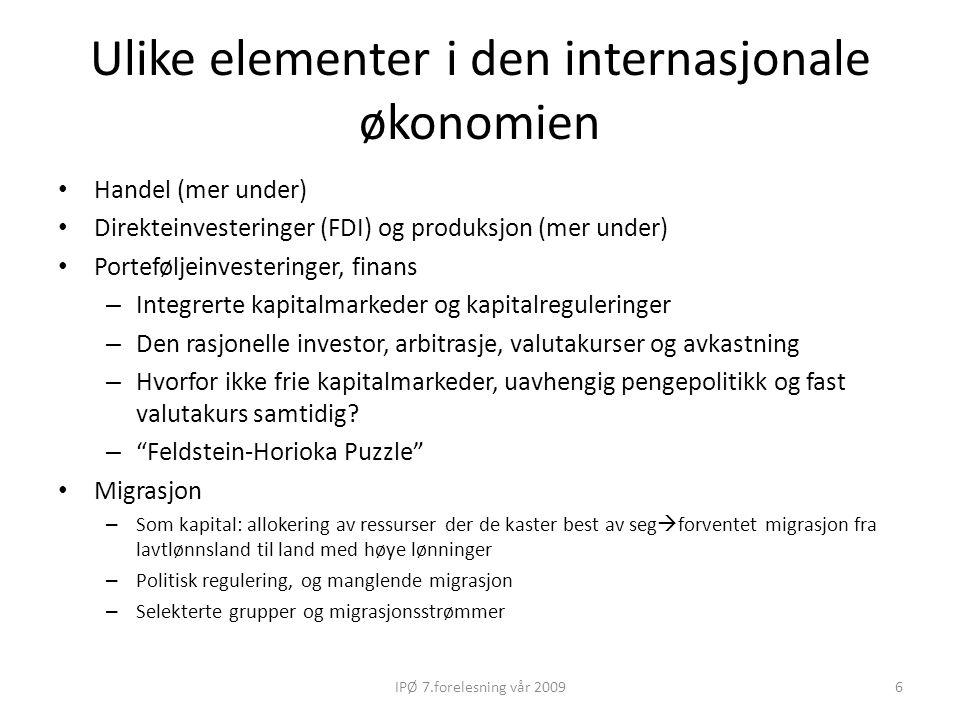 Ulike elementer i den internasjonale økonomien Handel (mer under) Direkteinvesteringer (FDI) og produksjon (mer under) Porteføljeinvesteringer, finans