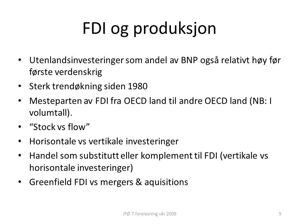 FDI og produksjon Utenlandsinvesteringer som andel av BNP også relativt høy før første verdenskrig Sterk trendøkning siden 1980 Mesteparten av FDI fra