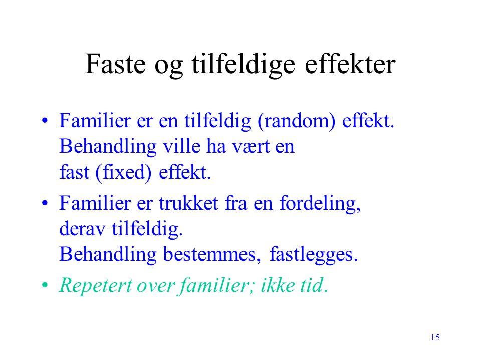 15 Faste og tilfeldige effekter Familier er en tilfeldig (random) effekt. Behandling ville ha vært en fast (fixed) effekt. Familier er trukket fra en