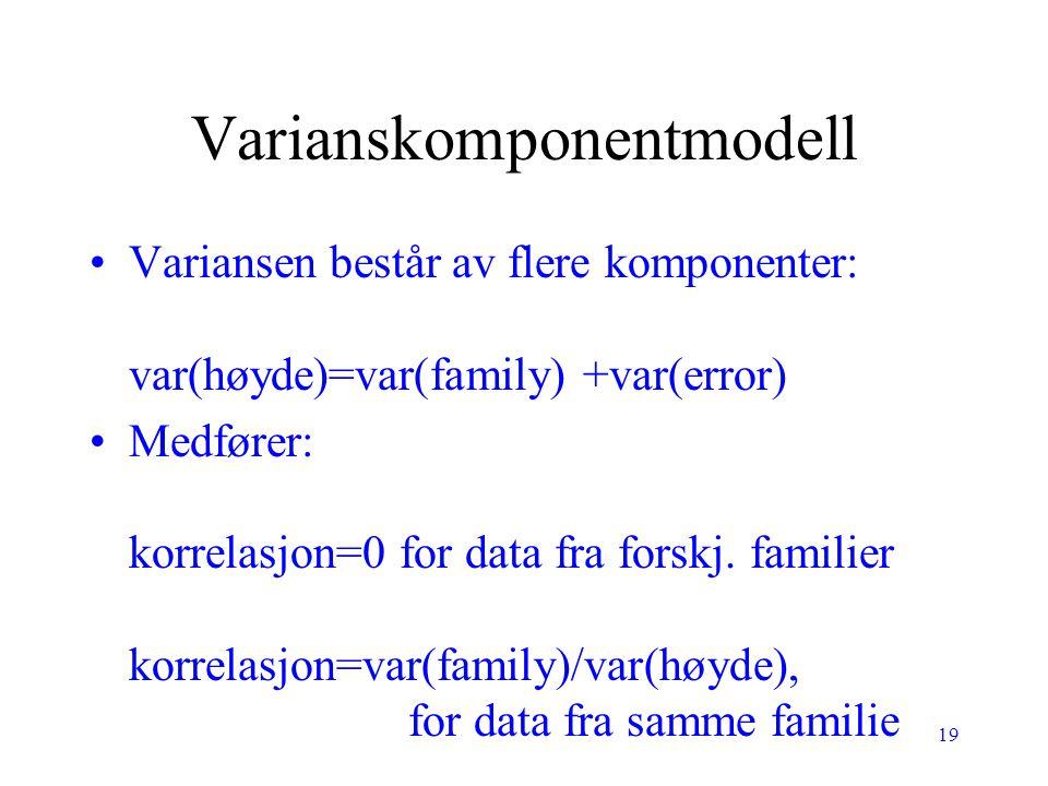 19 Varianskomponentmodell Variansen består av flere komponenter: var(høyde)=var(family) +var(error) Medfører: korrelasjon=0 for data fra forskj. famil