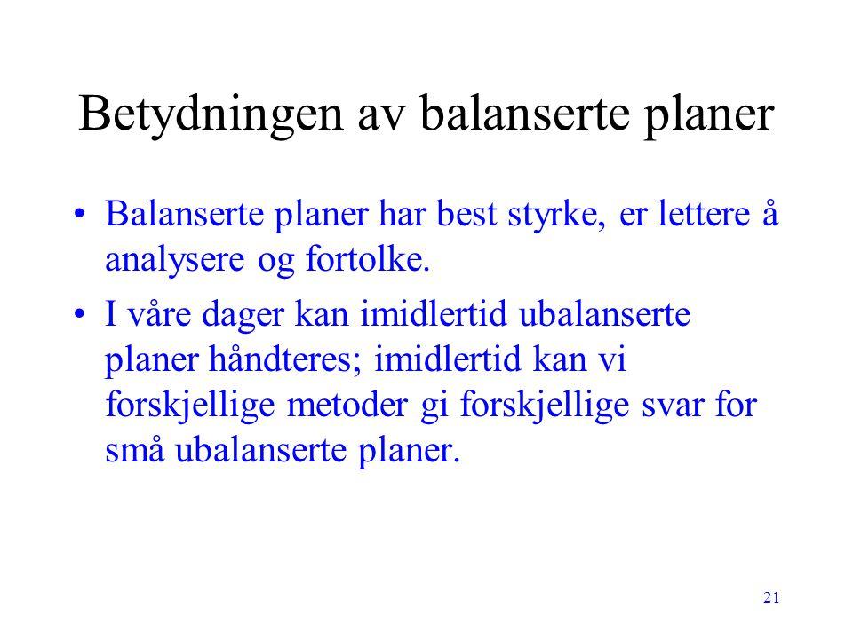 21 Betydningen av balanserte planer Balanserte planer har best styrke, er lettere å analysere og fortolke. I våre dager kan imidlertid ubalanserte pla