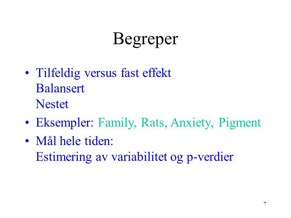 7 Begreper Tilfeldig versus fast effekt Balansert Nestet Eksempler: Family, Rats, Anxiety, Pigment Mål hele tiden: Estimering av variabilitet og p-ver