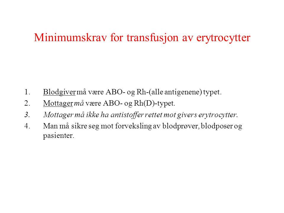 Minimumskrav for transfusjon av erytrocytter 1.Blodgiver må være ABO- og Rh-(alle antigenene) typet. 2.Mottager må være ABO- og Rh(D)-typet. 3.Mottage