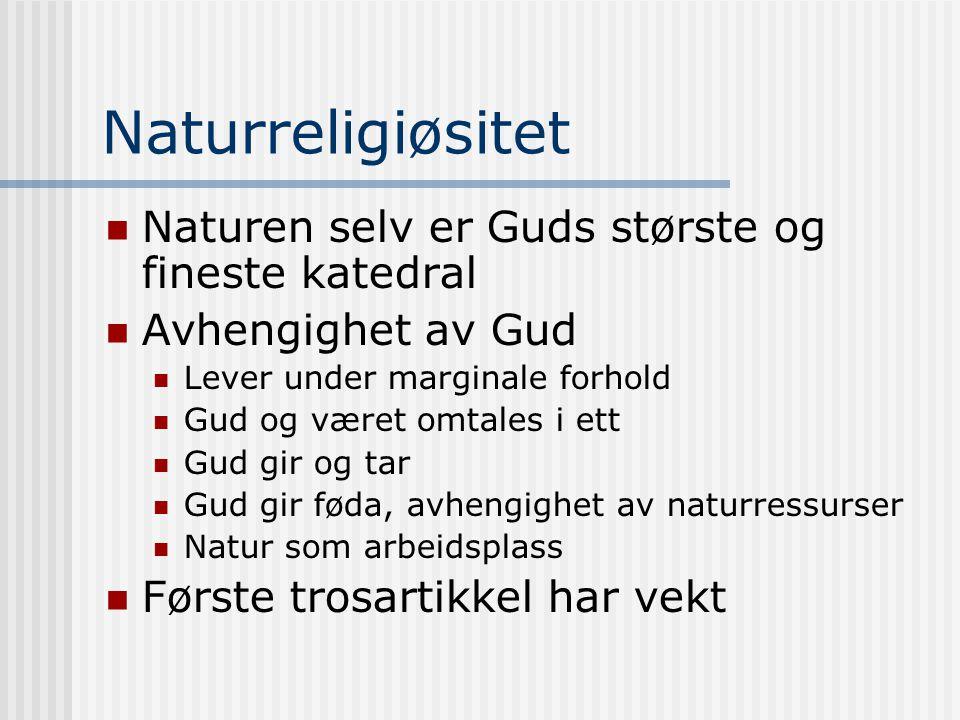 Naturreligiøsitet Naturen selv er Guds største og fineste katedral Avhengighet av Gud Lever under marginale forhold Gud og været omtales i ett Gud gir