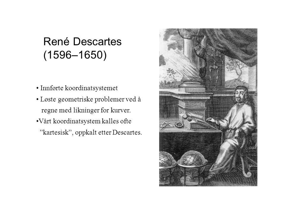 René Descartes (1596–1650) Innførte koordinatsystemet Løste geometriske problemer ved å regne med likninger for kurver. Vårt koordinatsystem kalles of