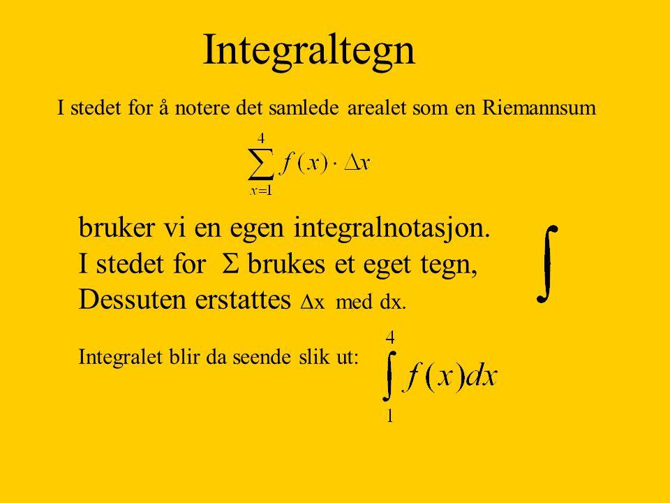 Integraltegn I stedet for å notere det samlede arealet som en Riemannsum bruker vi en egen integralnotasjon. I stedet for  brukes et eget tegn, Dessu