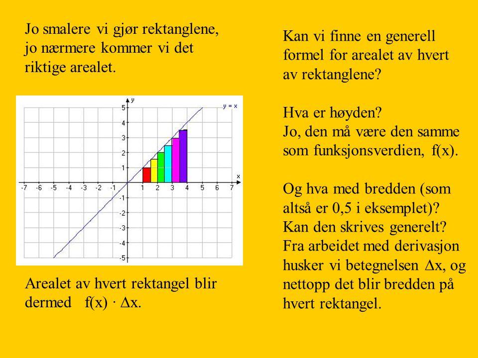 Jo smalere vi gjør rektanglene, det vil si at  x  0, jo nærmere kommer vi det riktige arealet.