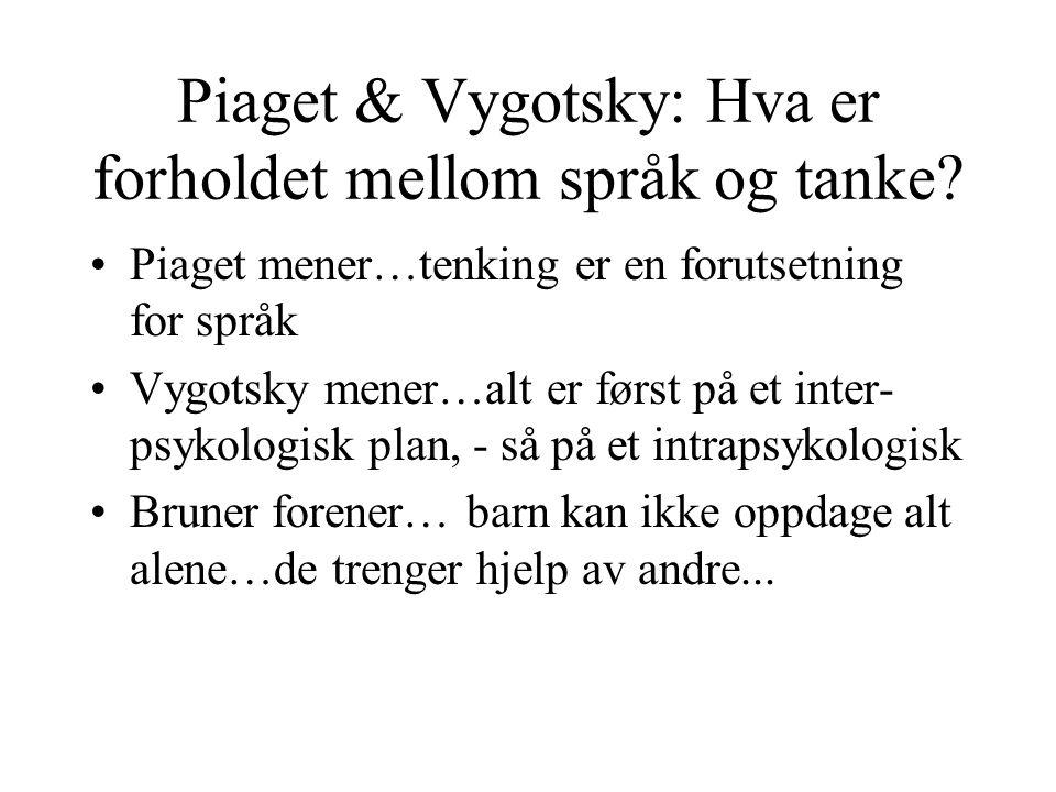 Piaget & Vygotsky: Hva er forholdet mellom språk og tanke.
