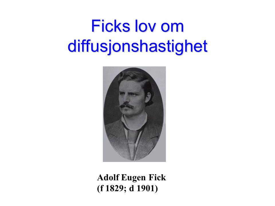 Adolf Eugen Fick (f 1829; d 1901) Ficks lov om diffusjonshastighet