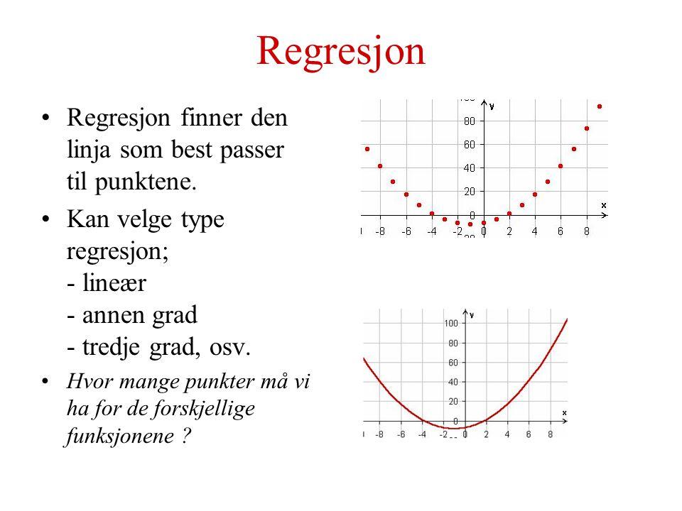 Polynomfunksjoner Eksponenten til x er større enn 2 f(x) = a n x n + a n-1 x n-1 +……+ a 2 x 2 + a 1 x 1 + a 0 Skjærer y-aksen i konstantleddet a 0 Har maksimalt n nullpunkter Trenger n+1 punkter for å utføre regresjon Antall ekstremalpunkter (topp- eller bunnpunkt) .