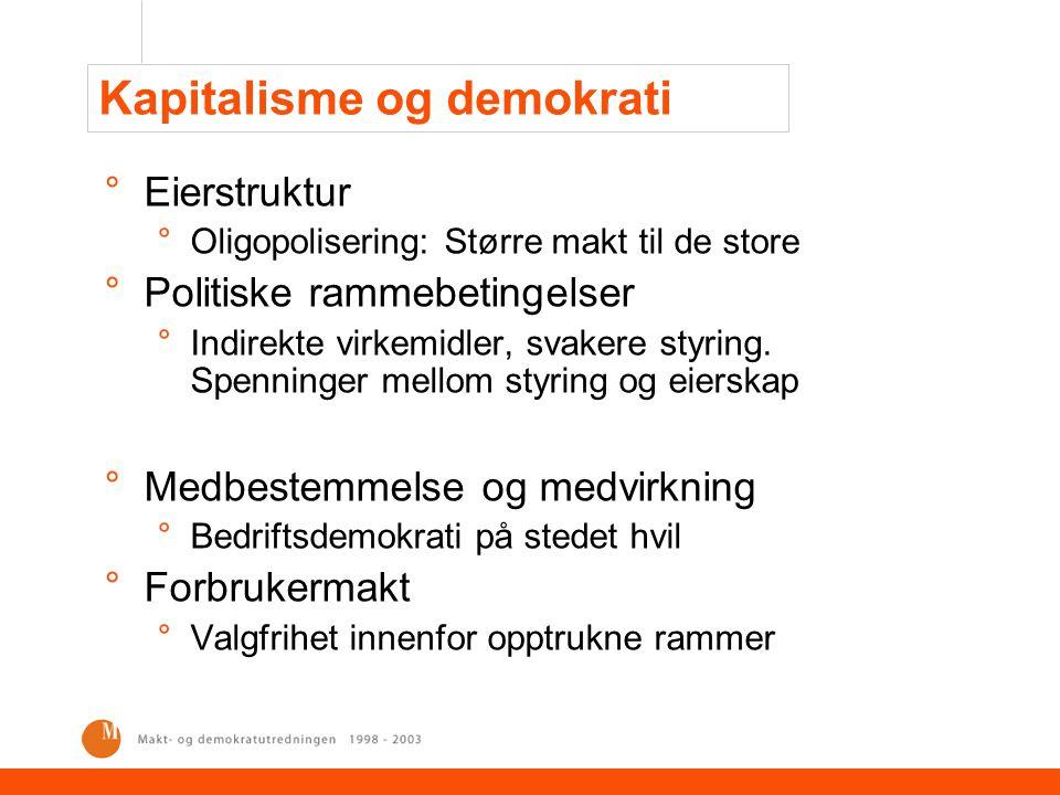 Kapitalisme og demokrati °Eierstruktur °Oligopolisering: Større makt til de store °Politiske rammebetingelser °Indirekte virkemidler, svakere styring.