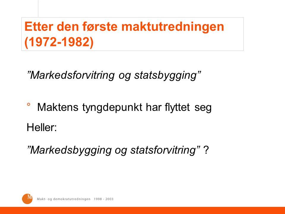 Etter den første maktutredningen (1972-1982) Markedsforvitring og statsbygging °Maktens tyngdepunkt har flyttet seg Heller: Markedsbygging og statsforvitring ?