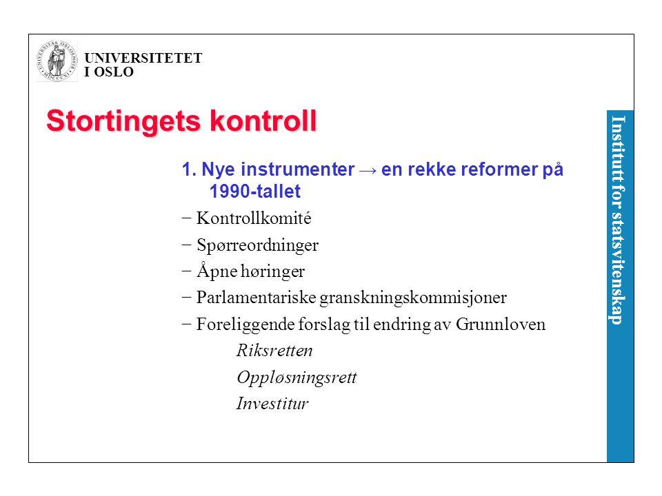 UNIVERSITETET I OSLO Institutt for statsvitenskap Spørreaktivitet i Stortinget, 1949-2005