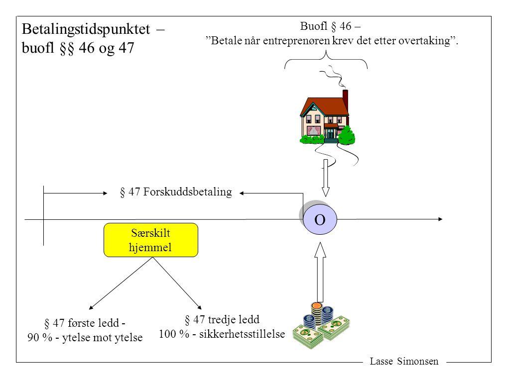 Lasse Simonsen Skjæringstidspunktet: Overtakelse § 49,1 før overtaking (senest samtidig med) § 46,1 etter overtaking § 47,1 c - ikkje …før § 47,3 Sjølvskuldgaranti