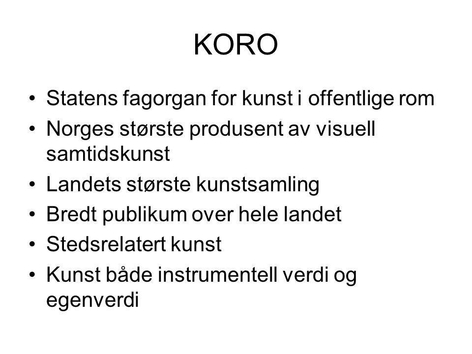 KORO Statens fagorgan for kunst i offentlige rom Norges største produsent av visuell samtidskunst Landets største kunstsamling Bredt publikum over hel