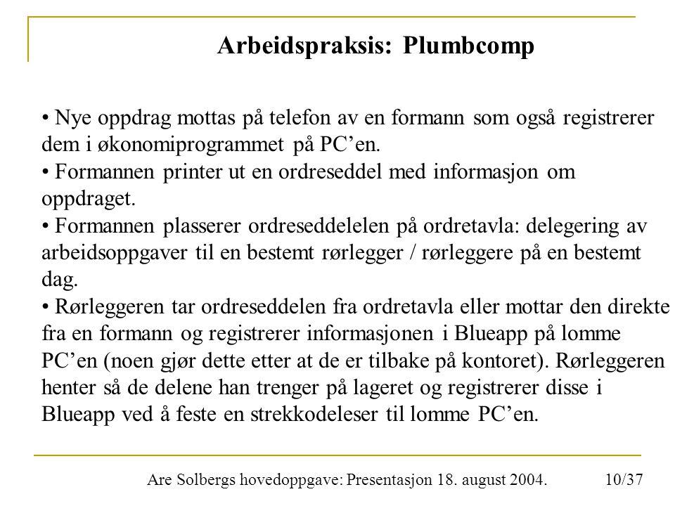 Are Solbergs hovedoppgave: Presentasjon 18. august 2004. Arbeidspraksis: Plumbcomp Nye oppdrag mottas på telefon av en formann som også registrerer de