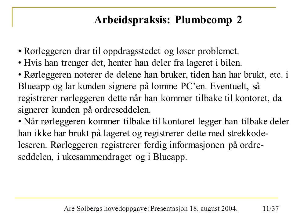 Are Solbergs hovedoppgave: Presentasjon 18. august 2004. Arbeidspraksis: Plumbcomp 2 Rørleggeren drar til oppdragsstedet og løser problemet. Hvis han
