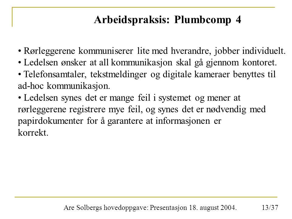 Are Solbergs hovedoppgave: Presentasjon 18. august 2004. Arbeidspraksis: Plumbcomp 4 Rørleggerene kommuniserer lite med hverandre, jobber individuelt.