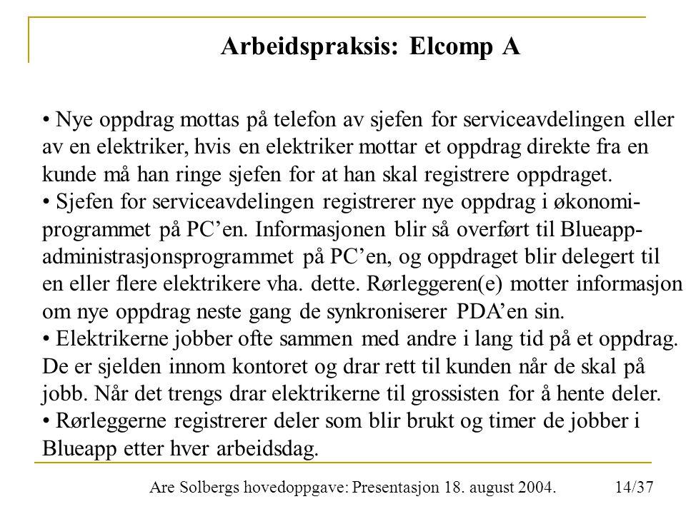 Are Solbergs hovedoppgave: Presentasjon 18. august 2004. Arbeidspraksis: Elcomp A Nye oppdrag mottas på telefon av sjefen for serviceavdelingen eller