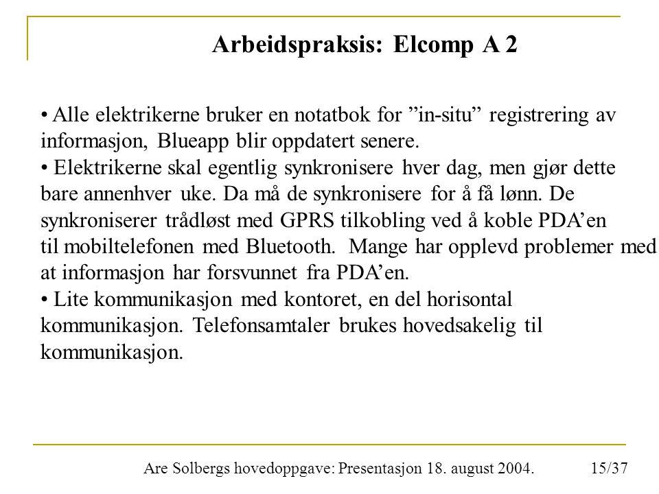 """Are Solbergs hovedoppgave: Presentasjon 18. august 2004. Arbeidspraksis: Elcomp A 2 Alle elektrikerne bruker en notatbok for """"in-situ"""" registrering av"""