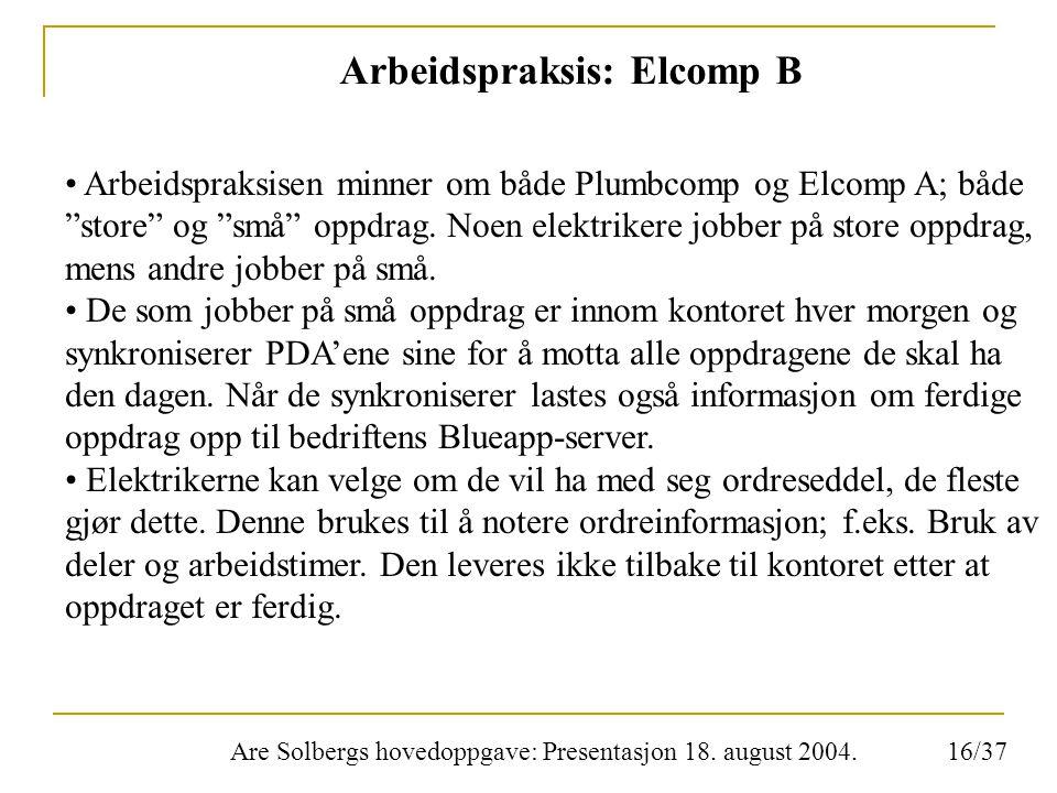 """Are Solbergs hovedoppgave: Presentasjon 18. august 2004. Arbeidspraksis: Elcomp B Arbeidspraksisen minner om både Plumbcomp og Elcomp A; både """"store"""""""